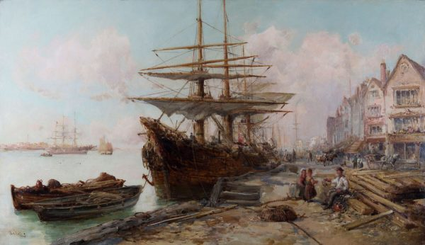 A Busy Harbour by William Edward Webb