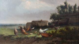 Hens in Landscape by Johan Lodewijk van Leemputten