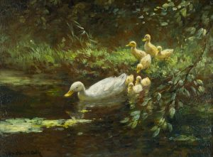 Mother and Ducklings by Constant David Ludovic Artz