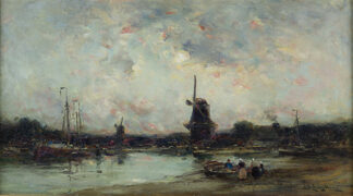 A Dutch Estuary, Evening EDWARD AUBREY HUNT, R.B.A.