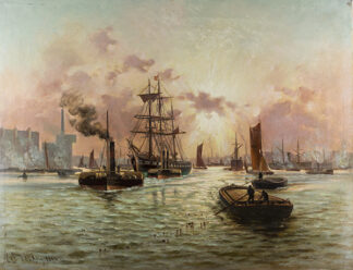 Pool of London, Evening by CHARLES JOHN de LACY